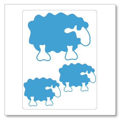 Our fluffy sheep wall decal contains three sheep, two small and one larger. Shown in ice blue on white.