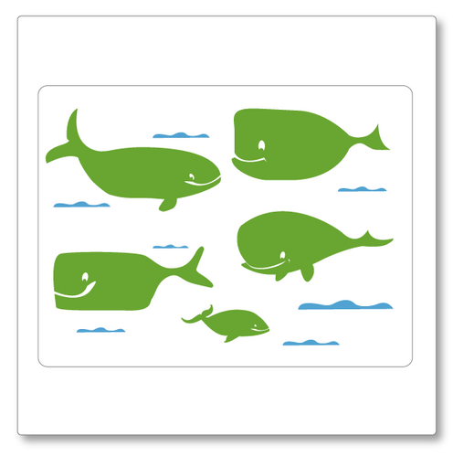 Our funny whales decal set includes whales and waves so you can create your own scene or use them individually. Shown in green and blue.