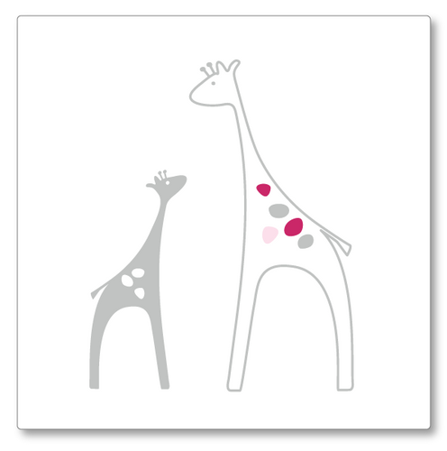 This delightful vinyl decal has two giraffes, one larger, facing each other. Main colour grey with pink and light pink spots.