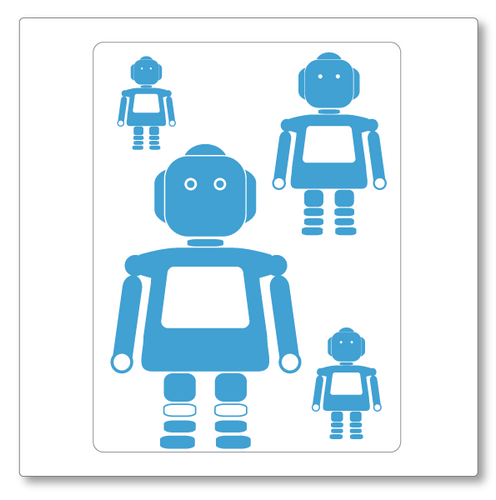 Our girl robots (small) vinyl wall decal set contains four robots of varied size. Shown here in ice blue on white.
