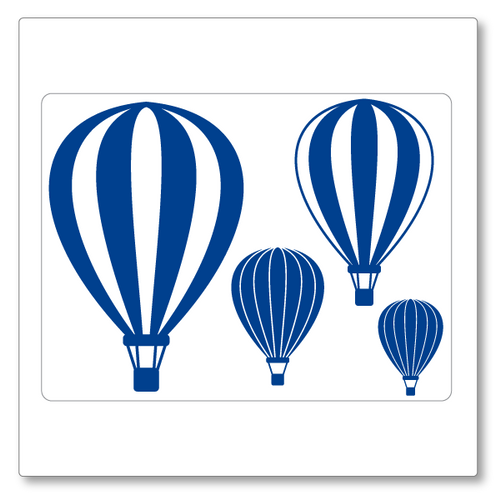 A set of four hot air balloons floating in the air. Two smaller and two larger. Single colour. Shown here in blue.