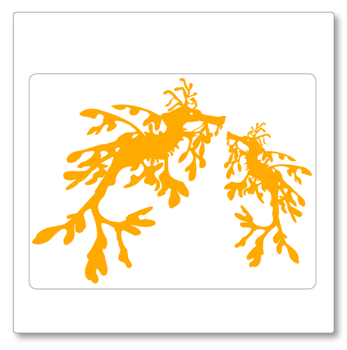 The unique and visually spectacular leafy sea dragon features in this small size vinyl decal. Two are shown, one larger. Shown in golden yellow.