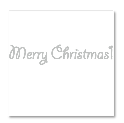 A delightful 'Merry Christmas' greeting in a cute style. There is a star over the I in Christmas. Shown in silver.