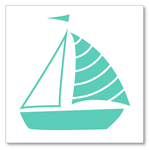 Our sailboat vinyl wall decal small has a single sailboat in one colour. Shown here in mint on white.