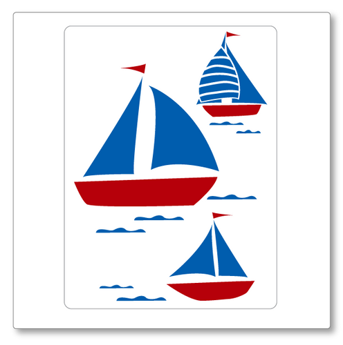 Our sailboats medium vinyl wall decal  has three two colour sailboats floating on waves. Shown here in dark red and blue on white.