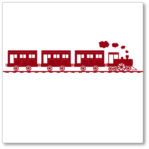 Our steam train vinyl wall decal rides the rails puffing smoke. Single colour. Shown here in dark red on white.