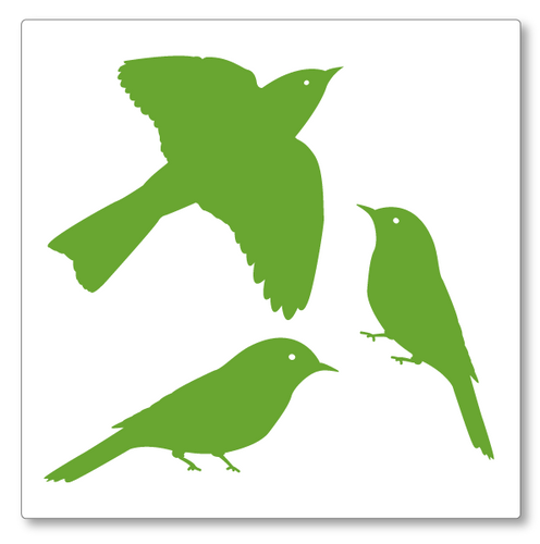 A charming set of three small birds, one in flight. These can be placed as a set or individually. Shown here in lime tree green.