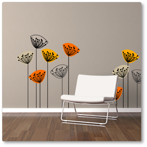 Designer vinyl wall decal 'dandelions from Scandinavia (field)' in the autumn colour selection. Shown looking great on a dark beige wall.