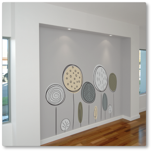 A set of fun trees, sleek and modern, ideal for any contemporary environment. This image shows the decal being used as a feature wall.