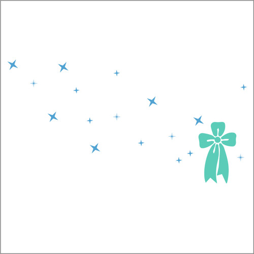 self adhesive bow with stars Christmas decal for shop windows