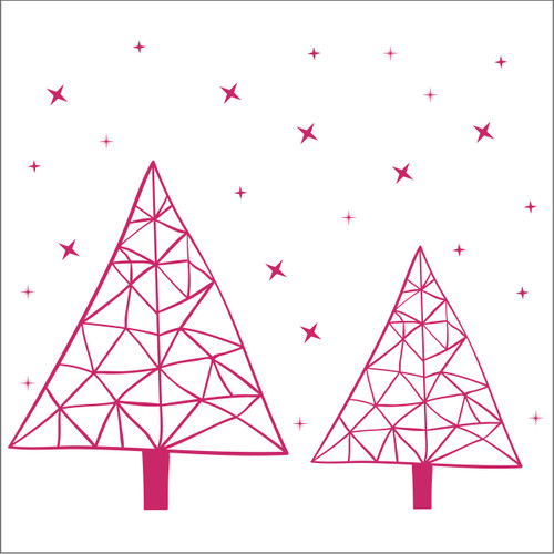 This contemporary geometric hand drawn Christmas trees decal is a unique design for those wanting something a bit different. Shown in pink.