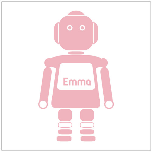 Our robot girl (large) vinyl decal stands alone and has a space for you to put your name. Shown here in carnation pink.