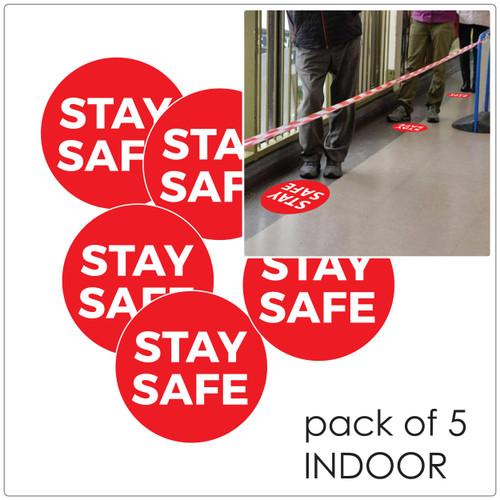 COVID-19 social distancing floor sticker for hard floors, pack of 5 Self-adhesive Corona virus floor sticker to help social distancing.