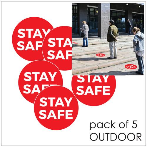social distancing floor sticker for outdoor floors, 5 pack Self-adhesive Corona virus floor sticker to help social distancing.