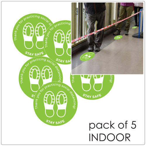 social distancing floor sticker for hard floors, pack of 5, green Self-adhesive Corona virus floor sticker to help social distancing.
