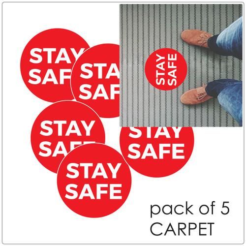 social distancing floor sticker for carpet, pack of 5 Self-adhesive Corona virus floor sticker to help social distancing.