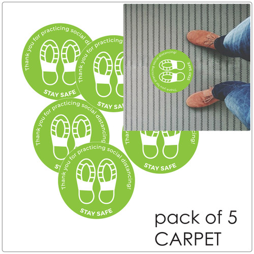 social distancing floor sticker for carpet, pack of 5 Self-adhesive Corona virus floor sticker to help social distancing.