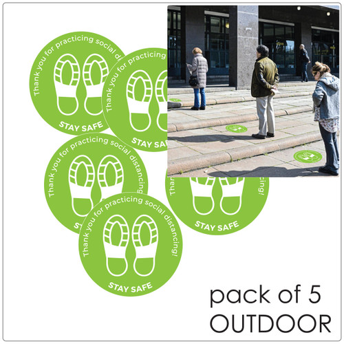 social distancing floor sticker for outdoor floors, pack of 5 Self-adhesive Corona virus floor sticker to help social distancing.