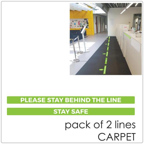 social distancing floor sticker for carpet, 2 lines Self-adhesive Corona virus floor sticker to help social distancing.