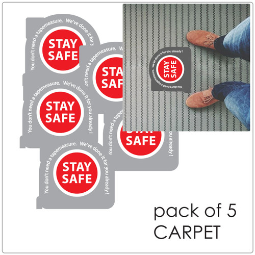 social distancing floor sticker for carpet, pack of 5 tape measure Self-adhesive Corona virus floor sticker to help social distancing.