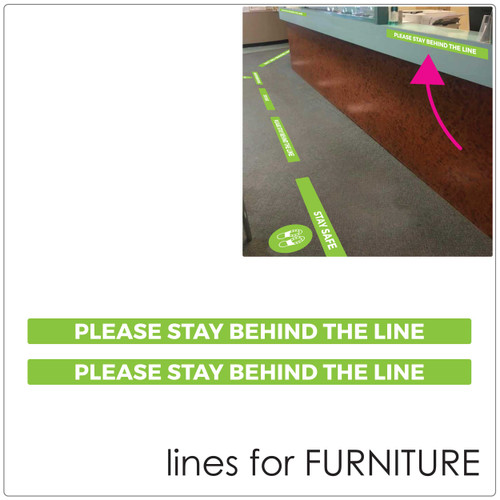 social distancing COUNTER stickers Self-adhesive Corona virus furniture sticker to help social distancing.