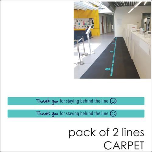social distancing floor sticker for carpet, 2 lines, teal Self-adhesive Corona virus floor sticker to help social distancing.