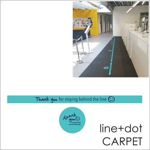 social distancing floor sticker for carpet, 1 dot+ 1 line, teal Self-adhesive Corona virus floor sticker to help social distancing.