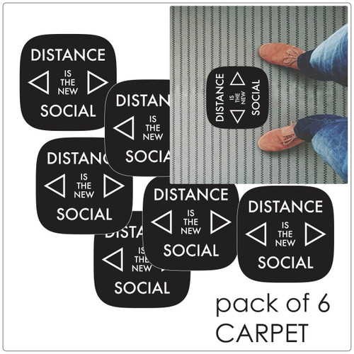 social distancing floor marker for carpet, pack of 5, contemporary, black Self-adhesive Corona virus floor marker to help social distancing