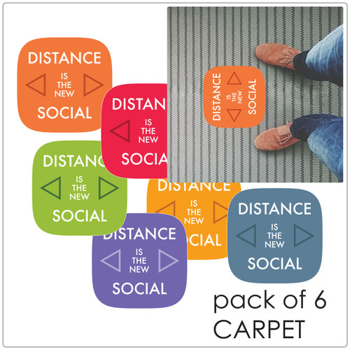 social distancing floor marker for carpet, pack of 5, contemporary mix Self-adhesive Corona virus floor marker to help social distancing