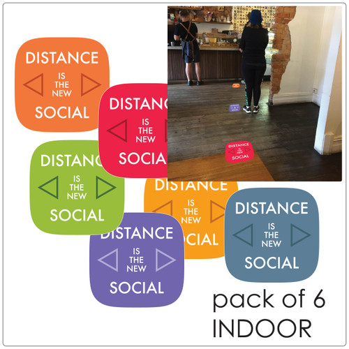 social distancing floor marker for hard floors, pack of 6, contemporary, mix Self-adhesive Corona virus floor marker to help social distancing