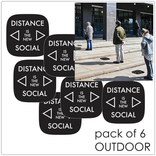 contemporary social distancing floor sticker for outdoor floors, pack of 6, black Self-adhesive Corona virus floor sticker to help social distancing.