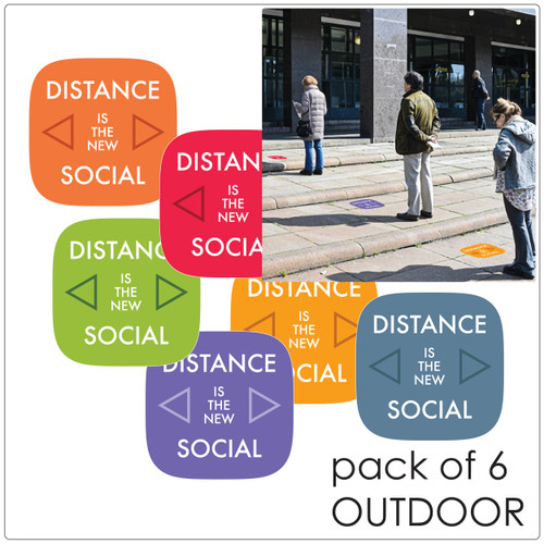 contemporary social distancing floor sticker for outdoor floors, pack of 6, mix Self-adhesive Corona virus floor sticker to help social distancing.