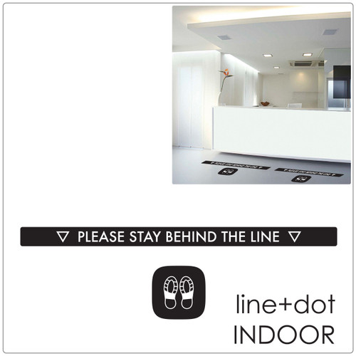 social distancing floor sticker for tiles, laminate and wood floor line +dot, black Self-adhesive Corona virus floor sticker to help social distancing.