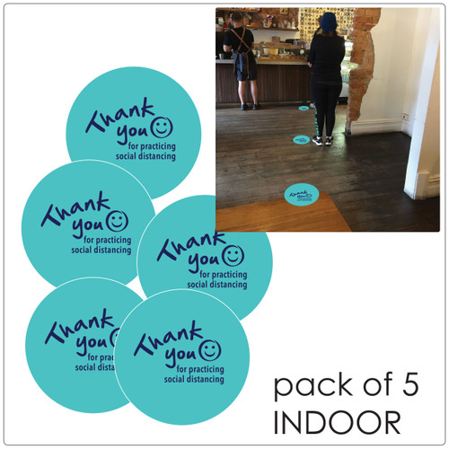 social distancing floor sticker for hard floors, pack of 5, teal Self-adhesive Corona virus floor sticker to help social distancing.