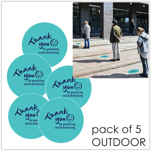 social distancing floor sticker for outdoor floors, teal, pack of 5 Self-adhesive Corona virus floor sticker to help social distancing.