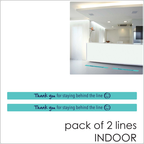 social distancing floor sticker for tiles, laminate and wood floor 2 lines, teal Self-adhesive Corona virus floor sticker to help social distancing.