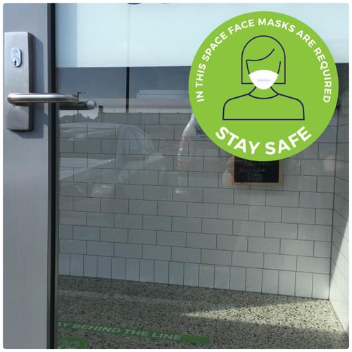 COVID mask DOOR sticker,  green, pack of 5 Self-adhesive Corona virus WINDOW sticker to encourage mask wearing.