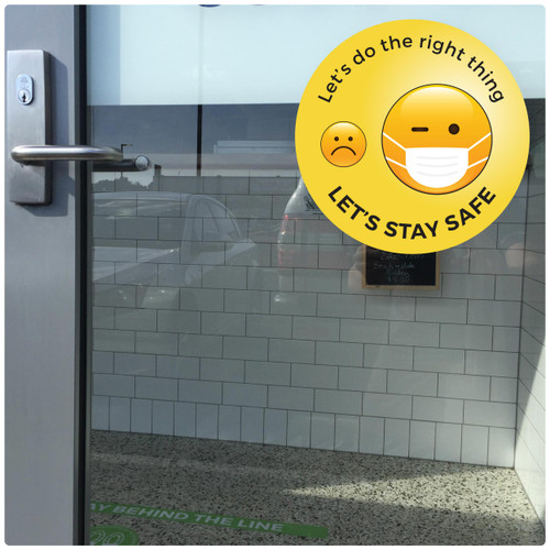 face mask DOOR sticker,  emoji,  Self-adhesive Corona virus WINDOW sticker to encourage mask wearing.