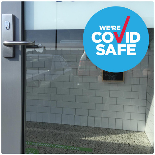 COVID SAFE business DOOR sticker, photo Self-adhesive Covid sticker for NSW registered businesses