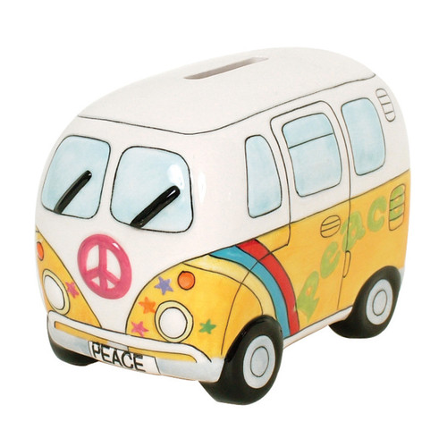 Peace Campervan Money Box - Psychedelic Yellow