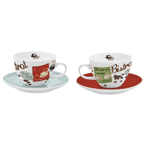Vintage Cappuccino Cup/Saucers 2pc Set