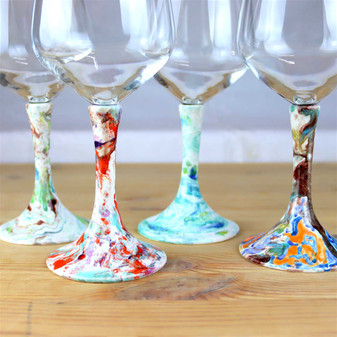 Italian-pottery-goblets-wine-with-modern-decoration