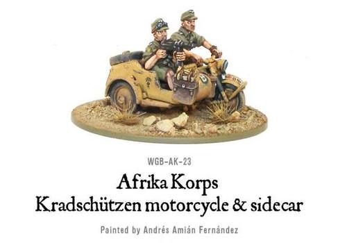 Afrika Korps Kradschutzen Motorcycle and Sidecar - WGB-AK-23