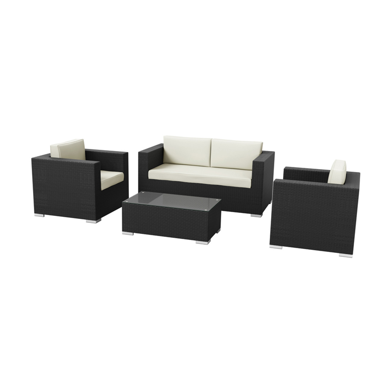 HAMPTON 4 Piece Sofa Set – ZA.446CT – Black