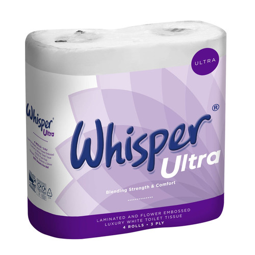 Whisper 3ply Ultra Soft Toilet Tissue Pk40 rolls