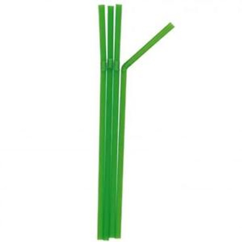 250 x 8 inch Green Bendy Biodegradable Compostable Drinking Straws