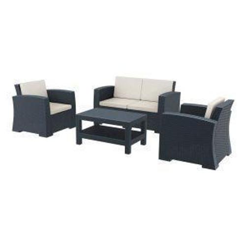 MONACO 4 Piece Sofa Set – ZA.1214C – Dark Grey