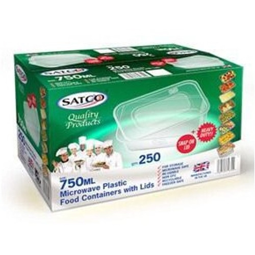 Satco Plastic Containers 750ml case of 250