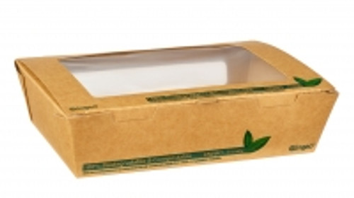 1200ML PLA TUCK TOP KRAFT WINDOW FOOD BOXES pk200