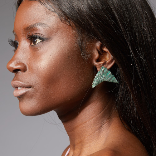 Earrings - Nikita - Deep Aquamarine - muntu - themuntu.com